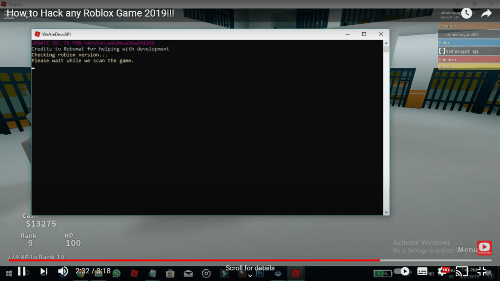 open in terminal to scan the game