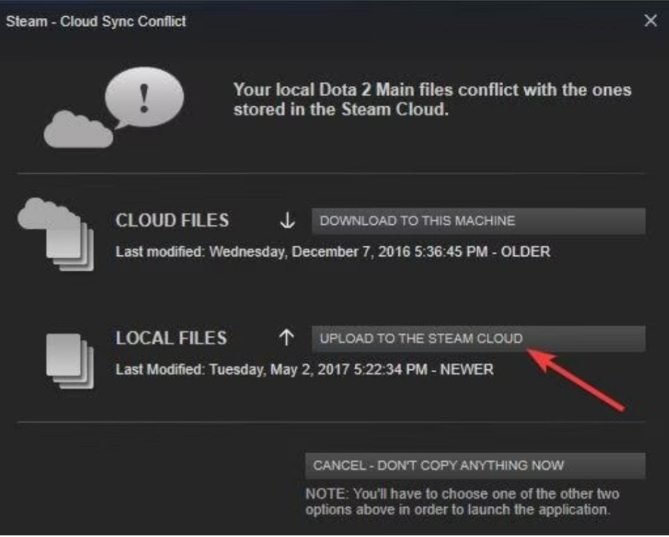 upload the local files to steam cloud