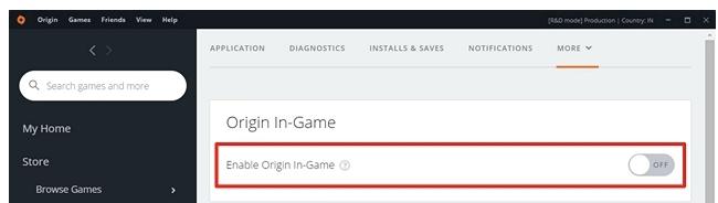 select enable origin in-game