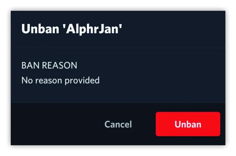 click on the Revoke Ban button