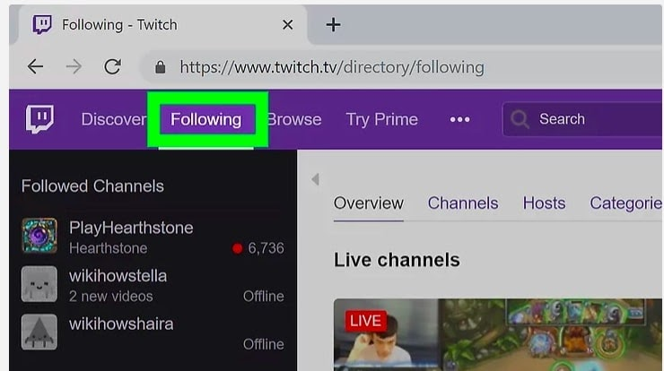 select twitch following tab