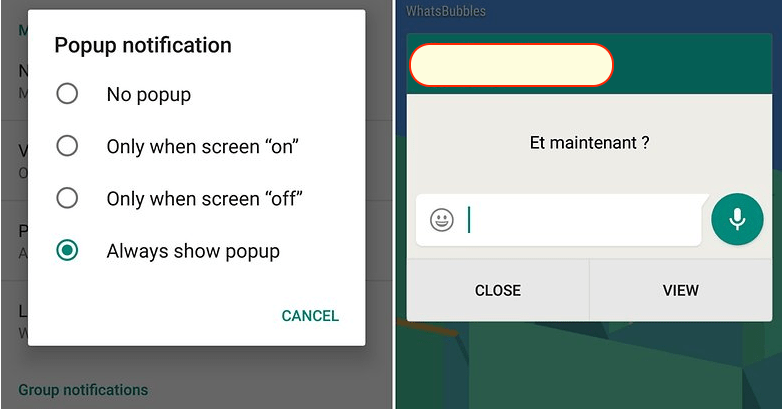 Whatsapp pop-up to read the message
