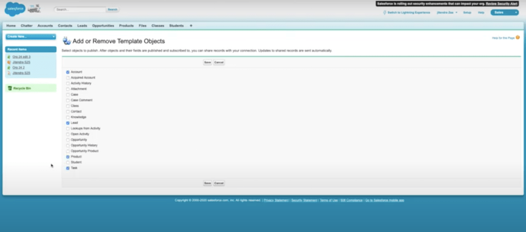 salesforce object published template