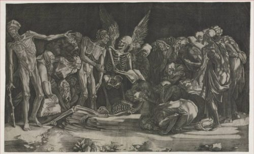 A mix of skeletons and humans are gatered around several figures on the ground, clutching at a skeleton.