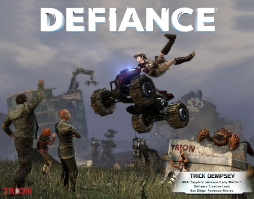 Trick's character in Defiance, a woman riding an ATV