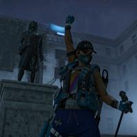 Videogame avatar, a person raising a fist in the air