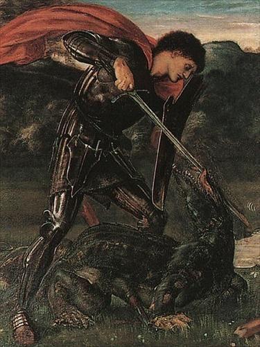 Πίνακας του Sir Edward Coley Burne-Jones (28/08/1833 - 17/06/1898), στον οποίο αναπαρίσται ο Άγιος Γεώργιος σκοτώνοντας τον Δράκο