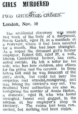 """Η είδηση της δολοφονίας της νεαρής Sarah Corlett, σε άρθρο της εφημερίδας """"Bay of Plenty Times"""", στις 20/11/1928"""