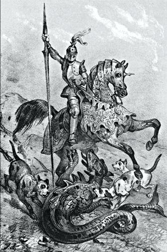 Πίνακας του Jean-Victor Vincent Adam (1801 - 1866), στον οποίο απεικονίζεται ο Dieudonne de Gozon να σκοτώνει τον Δράκο της Ρόδου