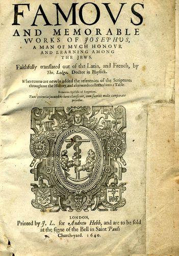 Έκδοση των έργων του Ιώσηπου σε μετάφραση του Τόμας Λοντζ (1640)