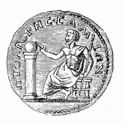 Απεικόνιση του Πυθαγόρα σε νόμισμα του 3ου αιώνα π.Χ.