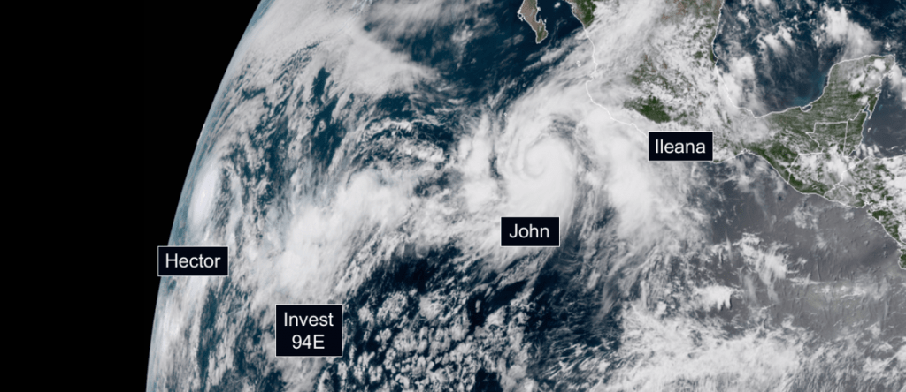 Four Tropical Systems Swarm the Pacific Ocean