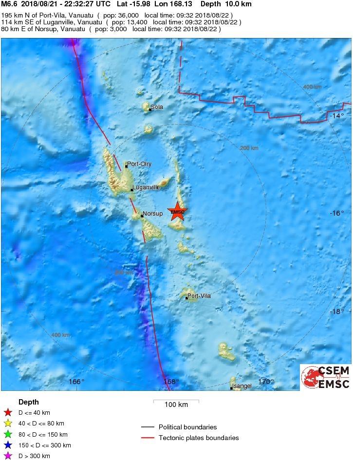 M6.6 earthquake strikes Vanuatu on August 21 2018, M6.6 earthquake strikes Vanuatu on August 21 2018 map. strong M6.6 earthquake strikes Vanuatu on August 21 2018