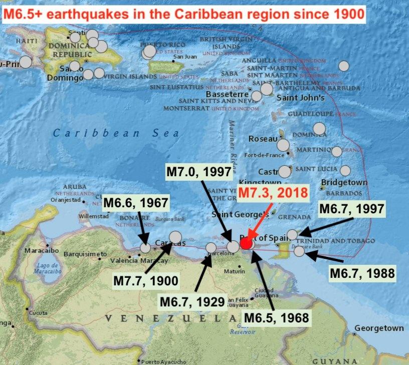 Massive M7.3 earthquake strikes Venezuela and the Caribbean on August 21 2018, M7.3 earthquake venezuela caribbean august 21 2018, M7.3 earthquake venezuela caribbean august 21 2018 map