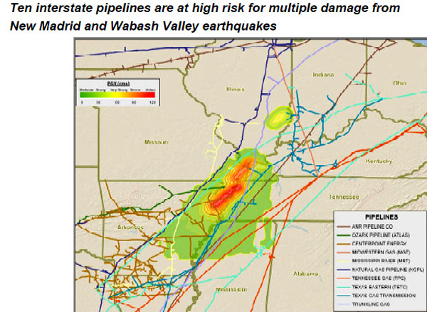 10 major pipelines are crossing the New Madrid Fault Line