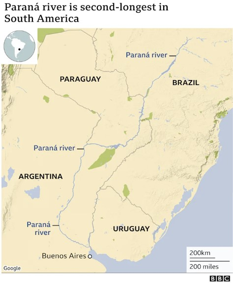 The Parana River is the second longest in South America, parana river is drying out, The second largest river in South America, the Parana River, is drying out