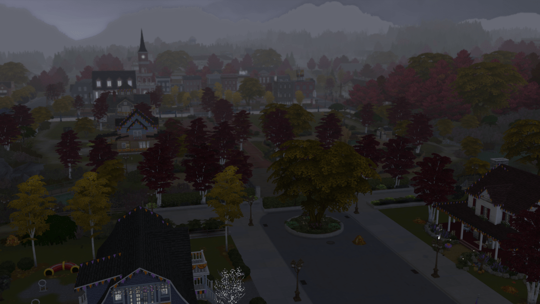 A thick layer of fog over a New-England-looking town in The Sims 4.