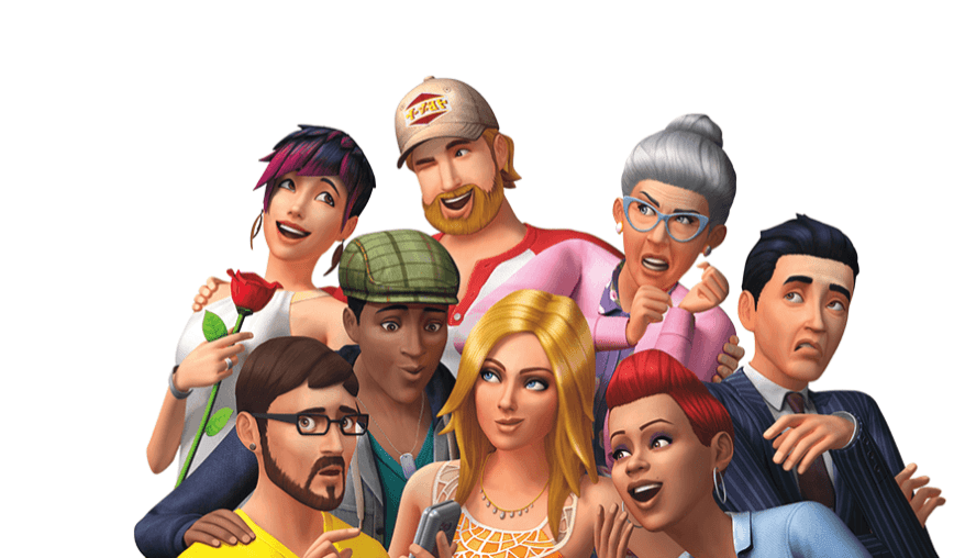 An early Sims 4 render showing 8 sims making exaggerated facial expressions.