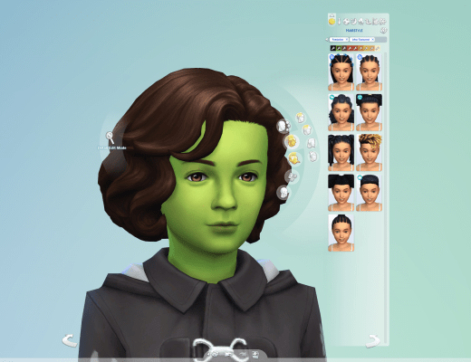 A child sim in CAS, showing the new state of the Afro-textured hair category.
