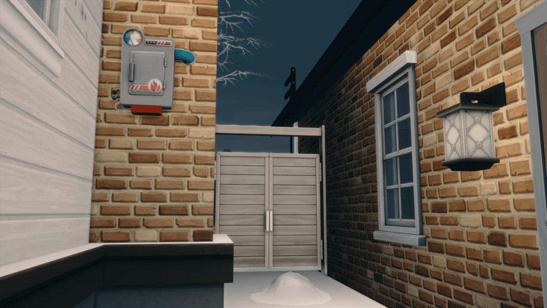 A Sims 4 screenshot: a fire sprinkler installed in an alley