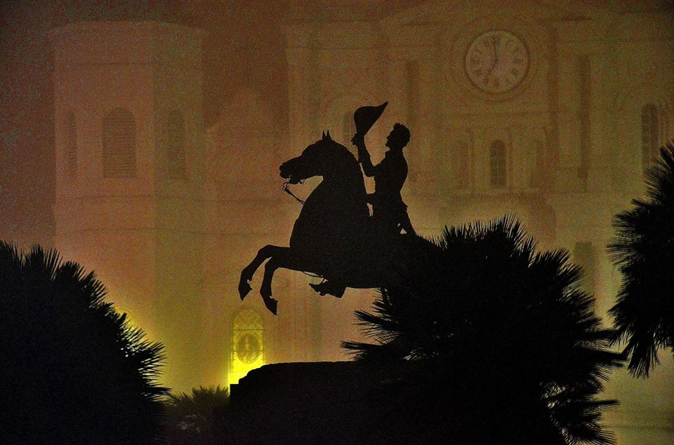 Statue of Andrew Jackson at night in Jackson Square of New Orleans