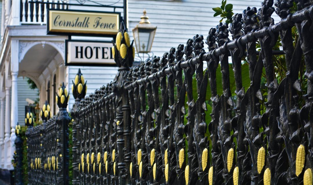 Cornstalk Fence Hotel with their famous cast iron cornstalk fence on Royal Street in the French Quarter of New Orleans