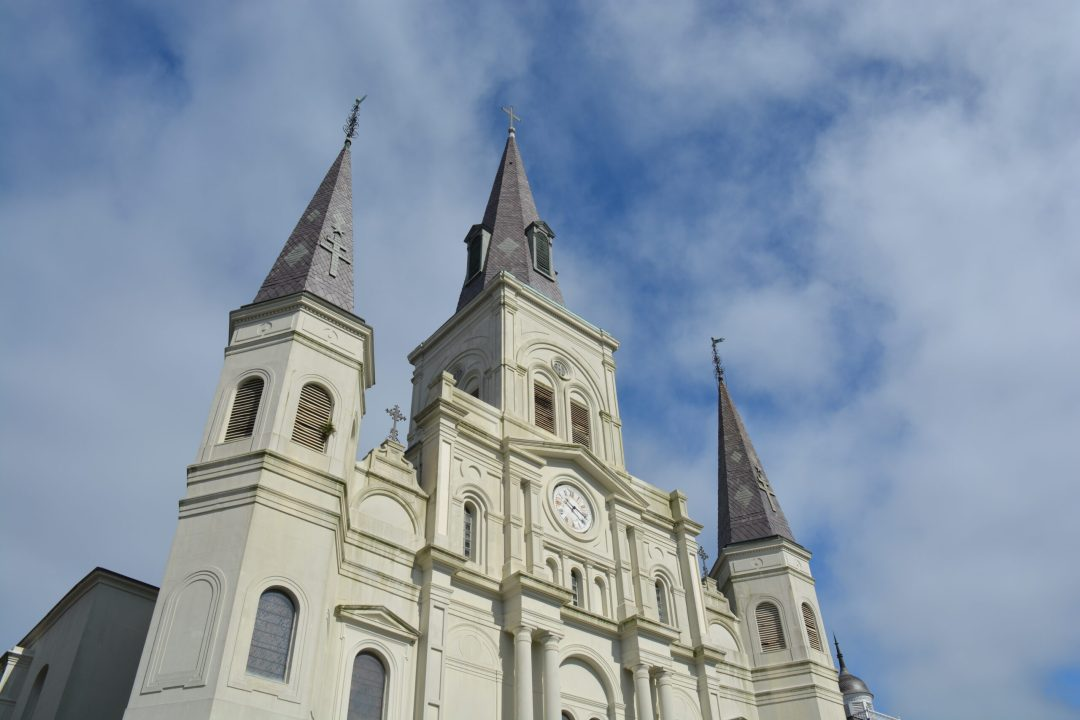 St Louis Cathedral during a cloudy day in Jackson Square of New Orleans