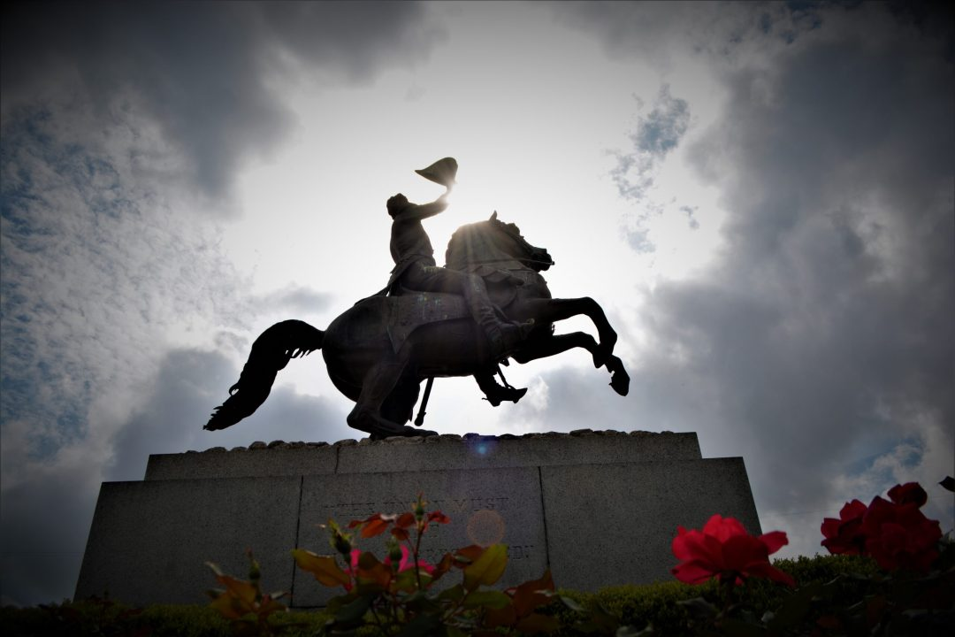 Gen Andrew Jackson in Jackson Square of the French Quarter of New Orleans