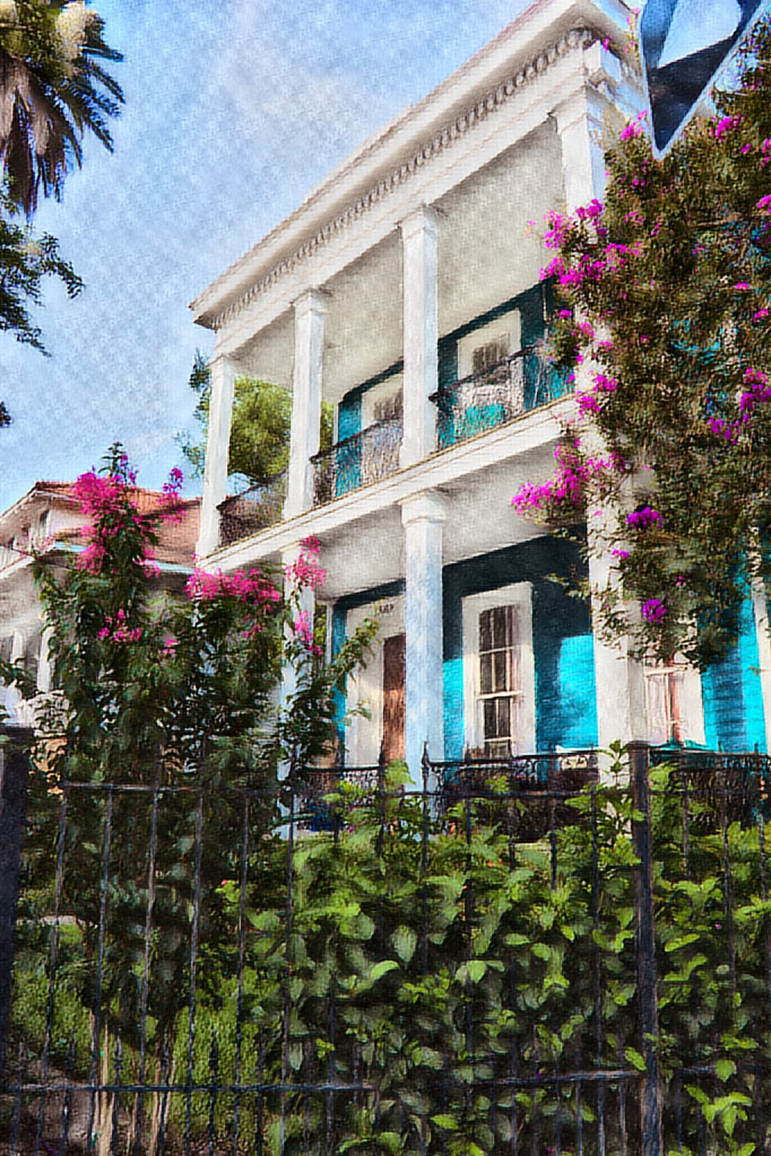 Doric columns in the Garden District of New Orleans