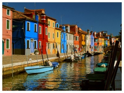 colorful houses like ideas in a row