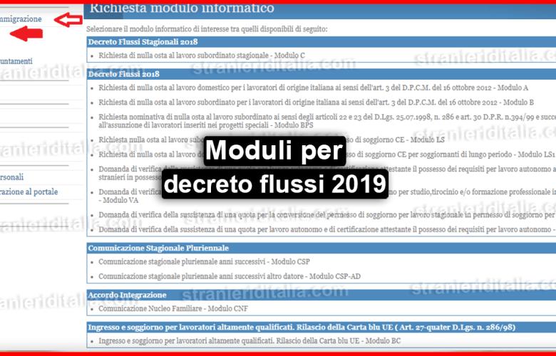 Moduli per decreto flussi 2019