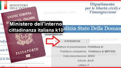 Ministero dell'interno cittadinanza italiana k10 - Consulta la pratica