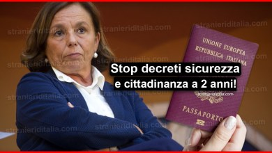 Photo of Lamorgese: Stop decreti sicurezza Salvini, cittadinanza a 2 anni!