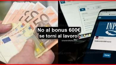 Photo of No al bonus 600 euro se torni al lavoro: Ecco il perché!
