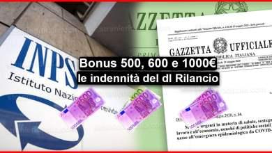 Photo of Bonus 500, 600 e 1000 euro: Le indennità del dl Rilancio