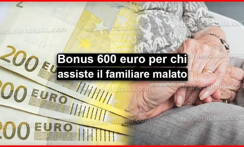 Bonus di 600 euro per chi assiste un familiare malato o disabile