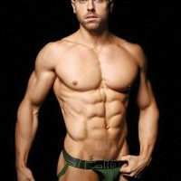 Beard muscle boy has great abs, pecs and VPL in his jock!