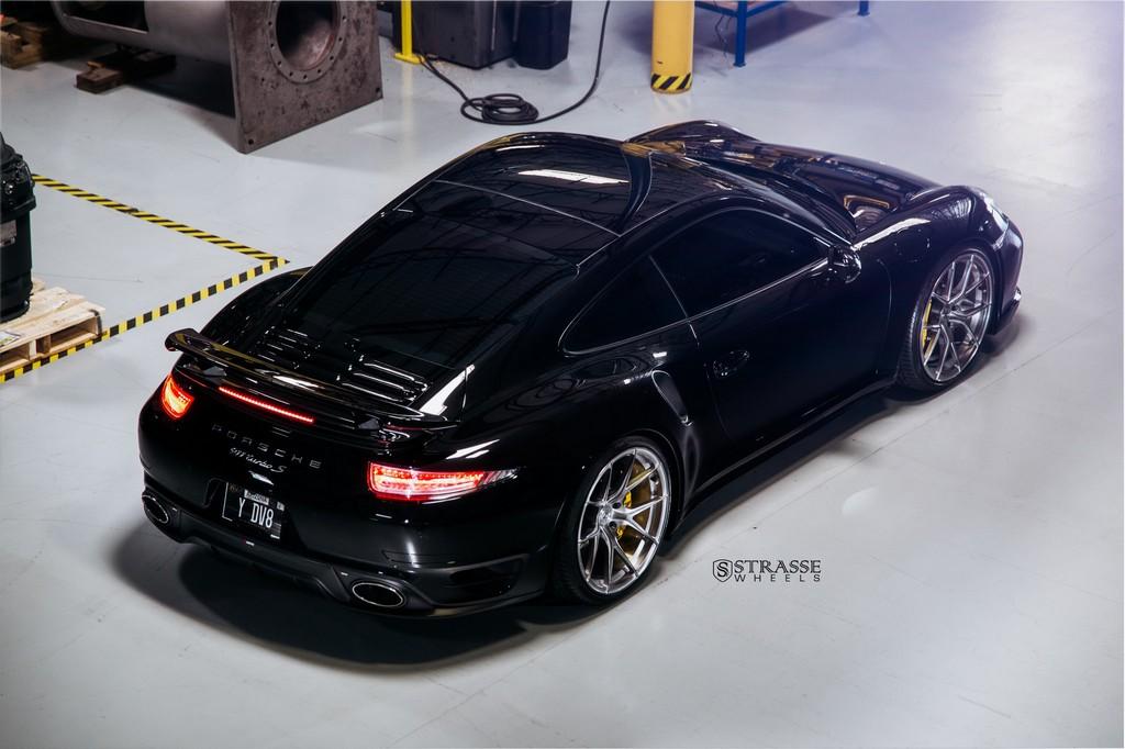 "Strasse Wheels - Porsche 991 Turbo S - 21"" SM5R Deep Concave Monoblocks - Gloss Brushed Titanium 10"