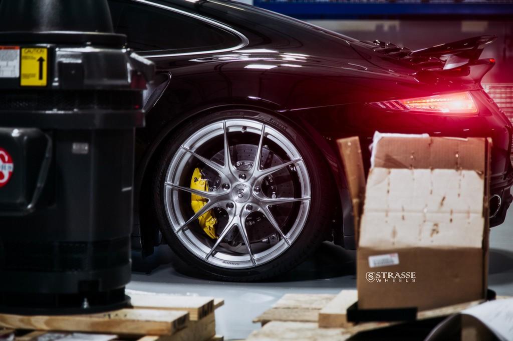 "Strasse Wheels - Porsche 991 Turbo S - 21"" SM5R Deep Concave Monoblocks - Gloss Brushed Titanium 11"