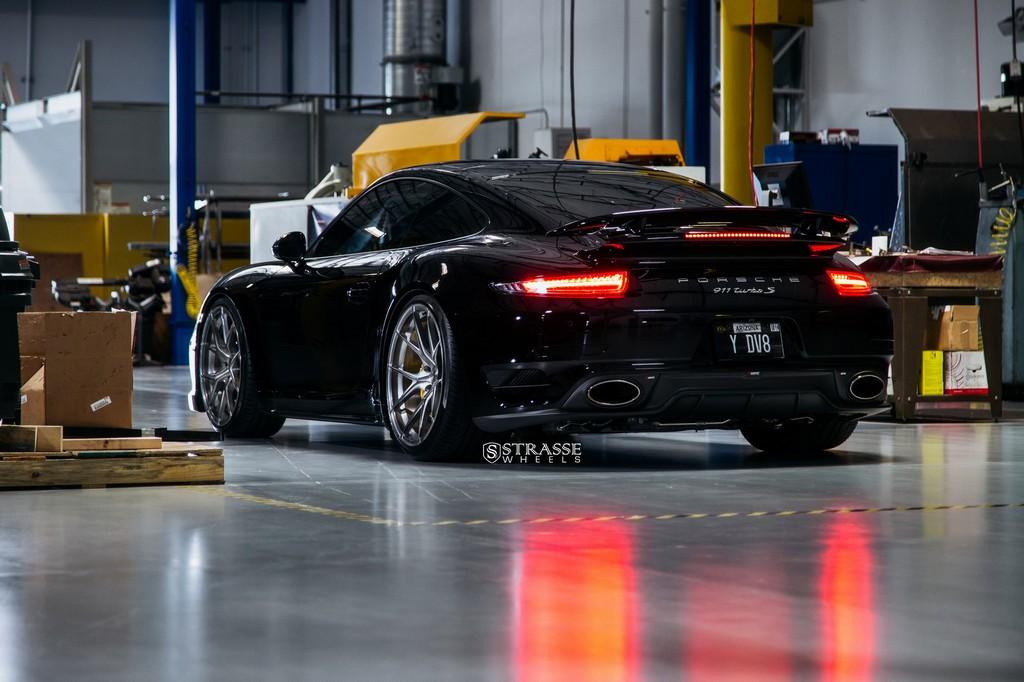 "Strasse Wheels - Porsche 991 Turbo S - 21"" SM5R Deep Concave Monoblocks - Gloss Brushed Titanium 12"