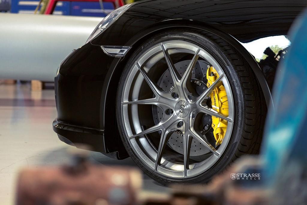 "Strasse Wheels - Porsche 991 Turbo S - 21"" SM5R Deep Concave Monoblocks - Gloss Brushed Titanium 7"