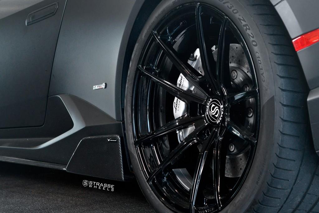 "Matte Black Lamborghini Huracan LP610-4 - 20"" SV1 Deep Concave Monoblock Wheels - Strasse Wheels 12"
