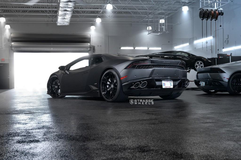 "Matte Black Lamborghini Huracan LP610-4 - 20"" SV1 Deep Concave Monoblock Wheels - Strasse Wheels 14"