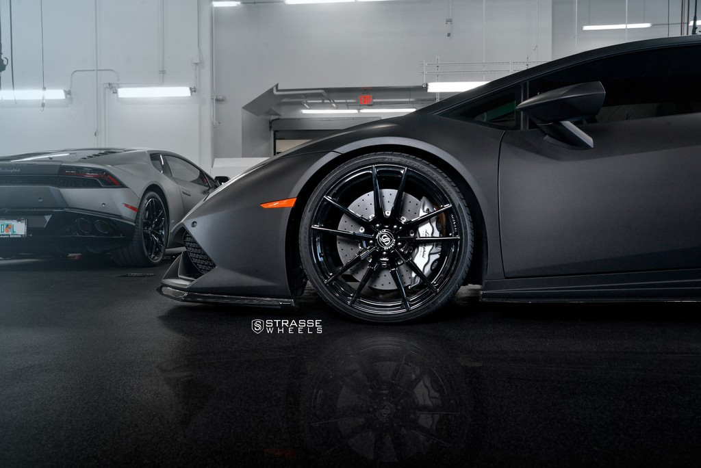 "Matte Black Lamborghini Huracan LP610-4 - 20"" SV1 Deep Concave Monoblock Wheels - Strasse Wheels 4"