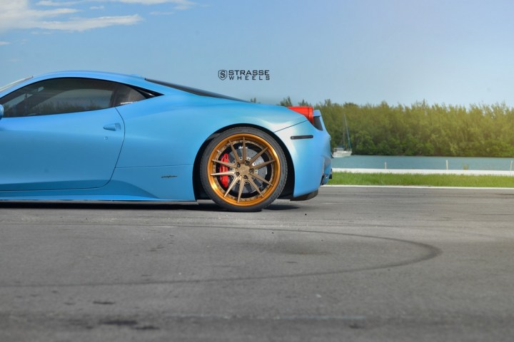 Strasse Wheels Satin Blue Ferrari 458 11