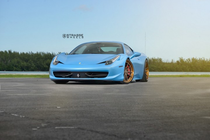 Strasse Wheels Satin Blue Ferrari 458 6