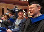 Recent (2012) Rice PhD graduate Debbie Brock on the left and David Queller on the right at graduation.