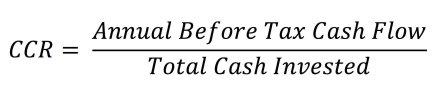 Cash On Cash Return (CCR) Formula JPG