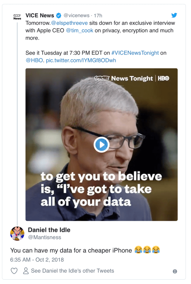 A tweet from someone that would sacrifice privacy for cheaper iPhones