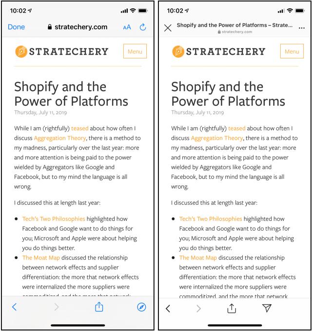 iOS's built-in browser versus Instagram's browser